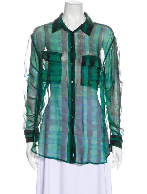Equipment Silk Tie-Dye Print Button-Up Top Green