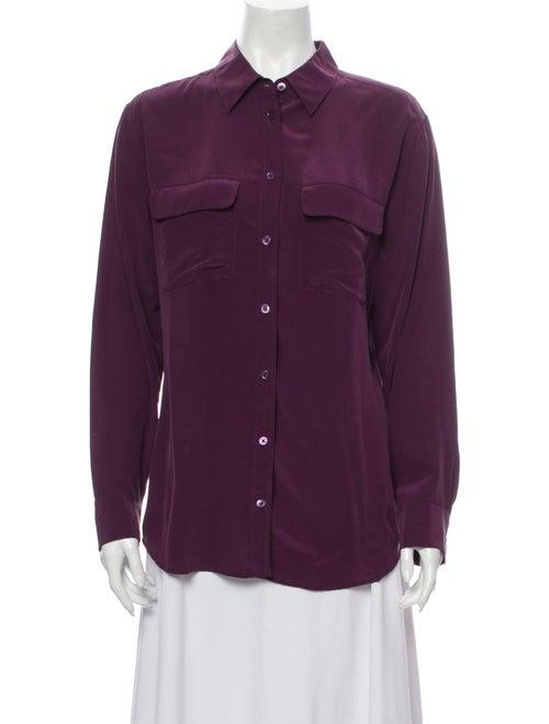 Equipment Silk Long Sleeve Button-Up Top Purple