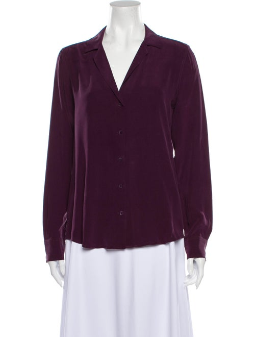 Equipment Silk V-Neck Button-Up Top Purple