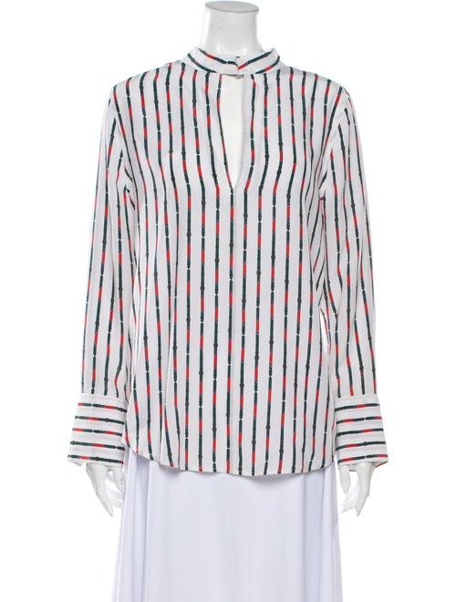 Equipment Silk Striped Blouse White