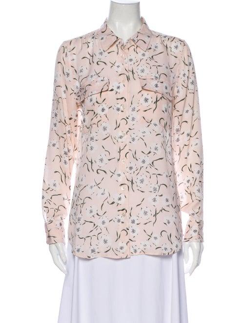 Equipment Silk Floral Print Button-Up Top Pink