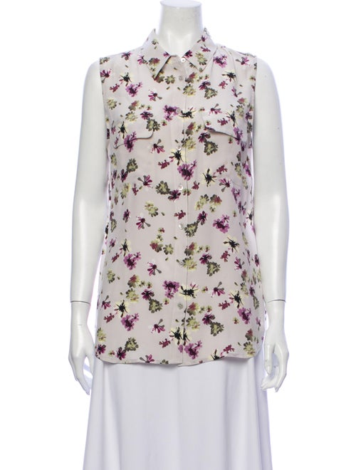 Equipment Silk Floral Print Button-Up Top