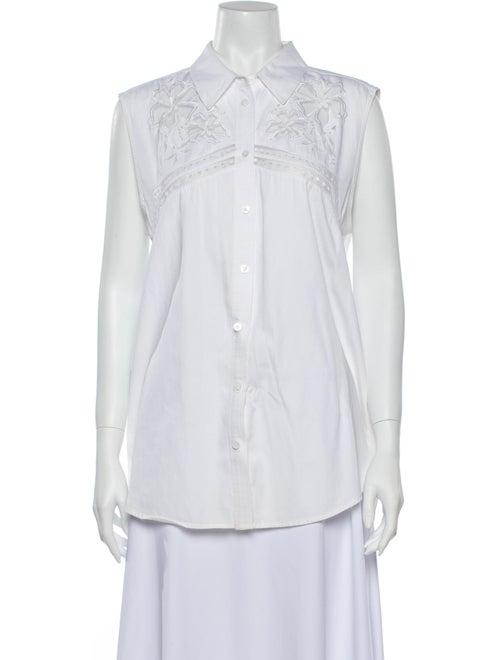 Equipment Sleeveless Button-Up Top White