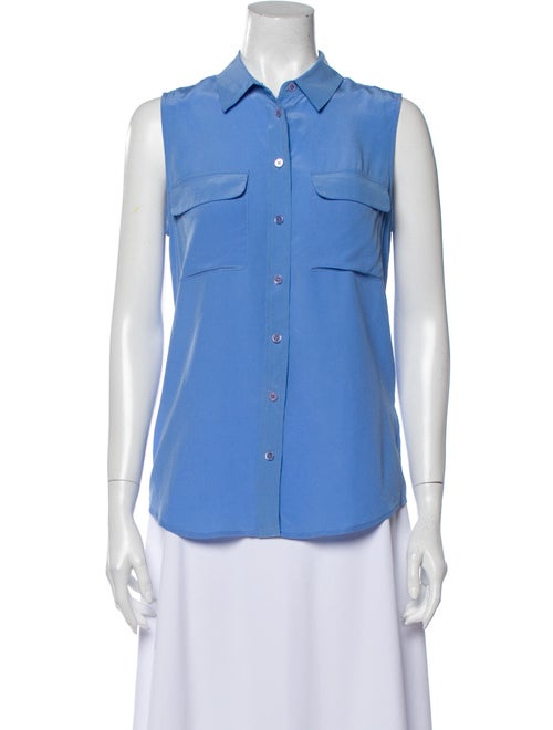 Equipment Silk Sleeveless Button-Up Top Blue