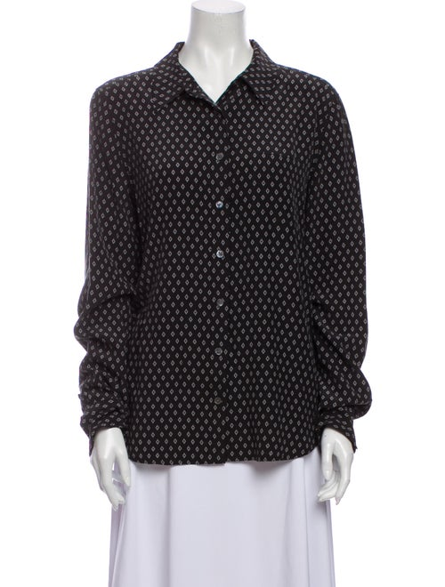 Equipment Silk Printed Button-Up Top Grey