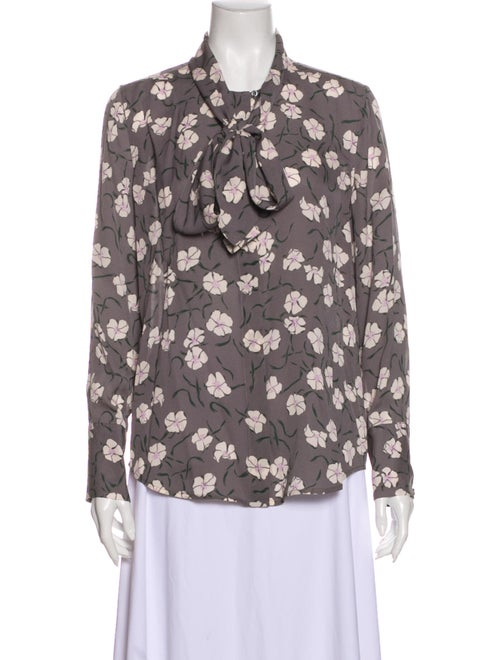 Equipment Silk Floral Print Button-Up Top Grey