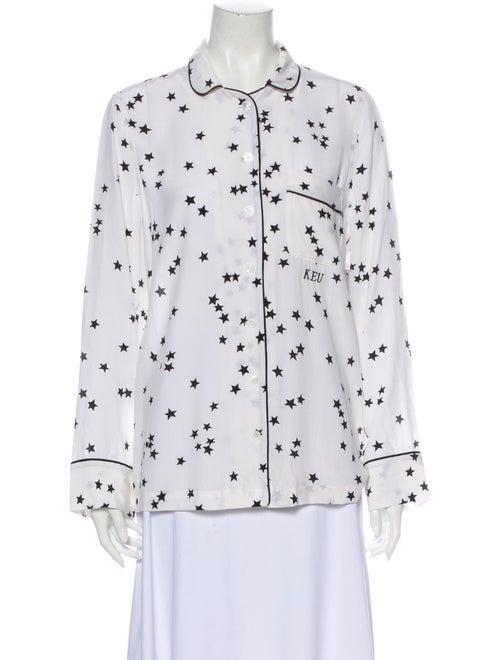 Equipment Silk Printed Pajamas w/ Tags White
