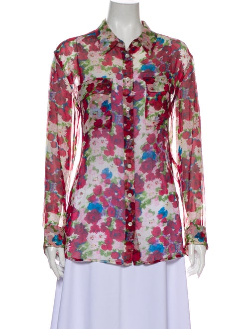 Equipment Silk Floral Print Button-Up Top Red
