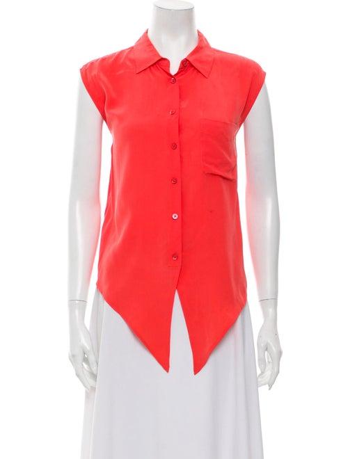 Equipment Silk Sleeveless Button-Up Top Orange