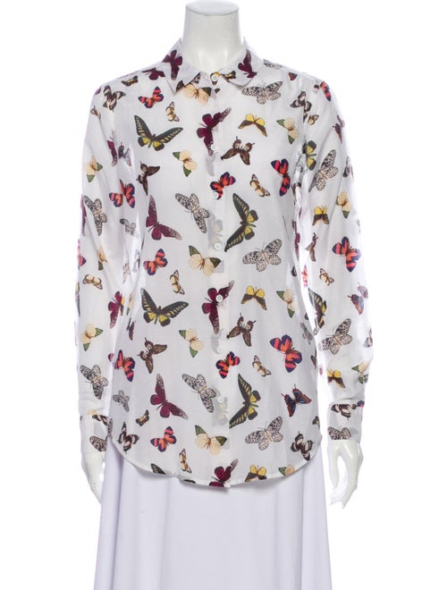Equipment Printed Long Sleeve Button-Up Top White