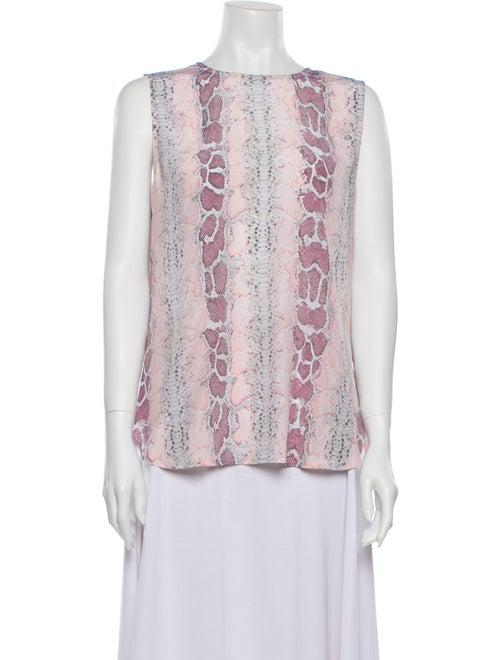 Equipment Silk Animal Print Blouse Pink