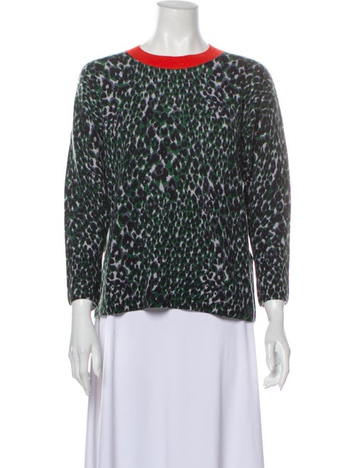 Equipment Cashmere Animal Print Sweater Green