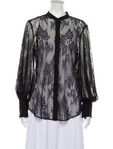 Equipment Lace Pattern Long Sleeve Button-Up Top