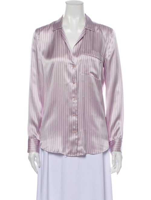 Equipment Silk Striped Button-Up Top Purple