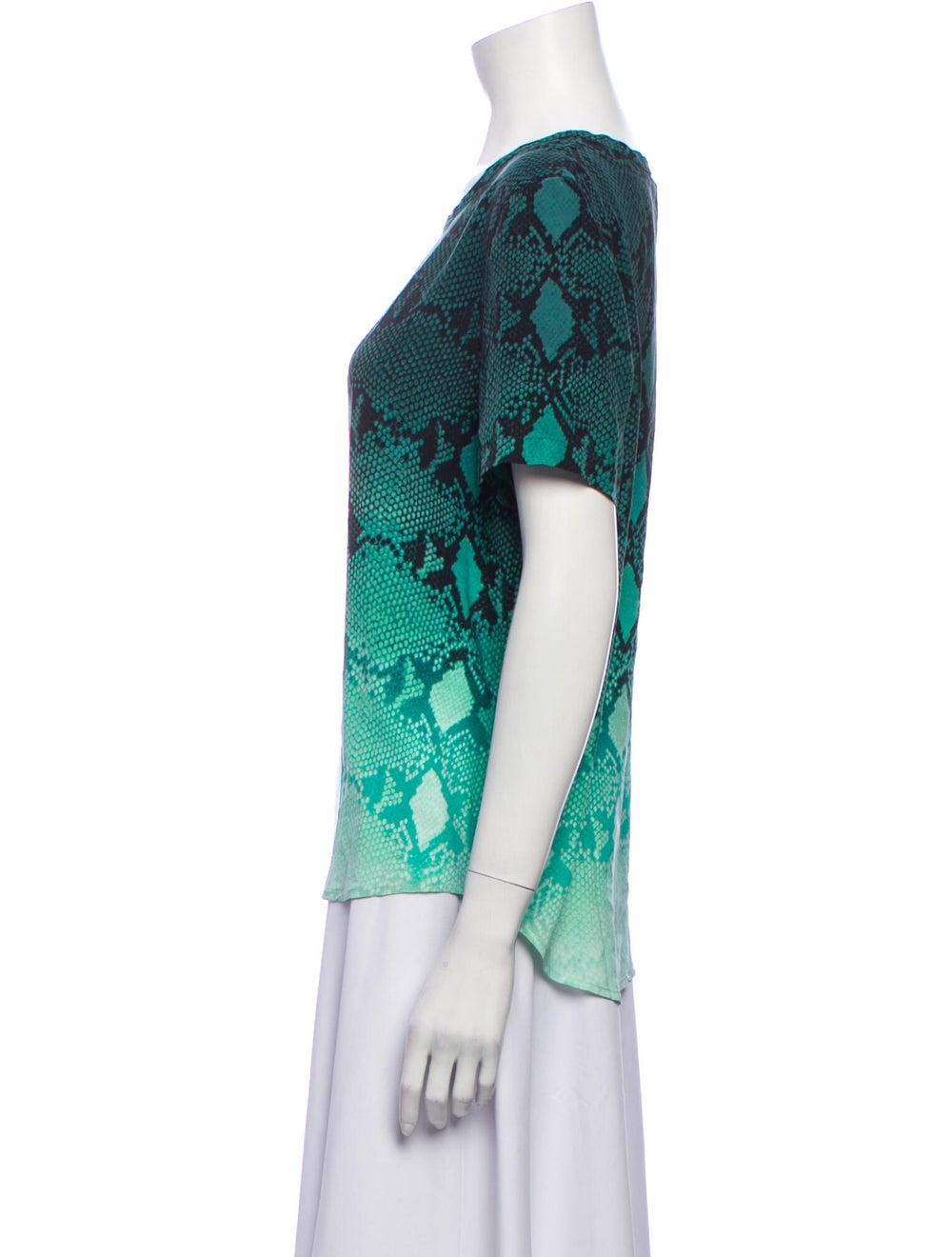 Equipment Silk Animal Print T-Shirt Green - image 2