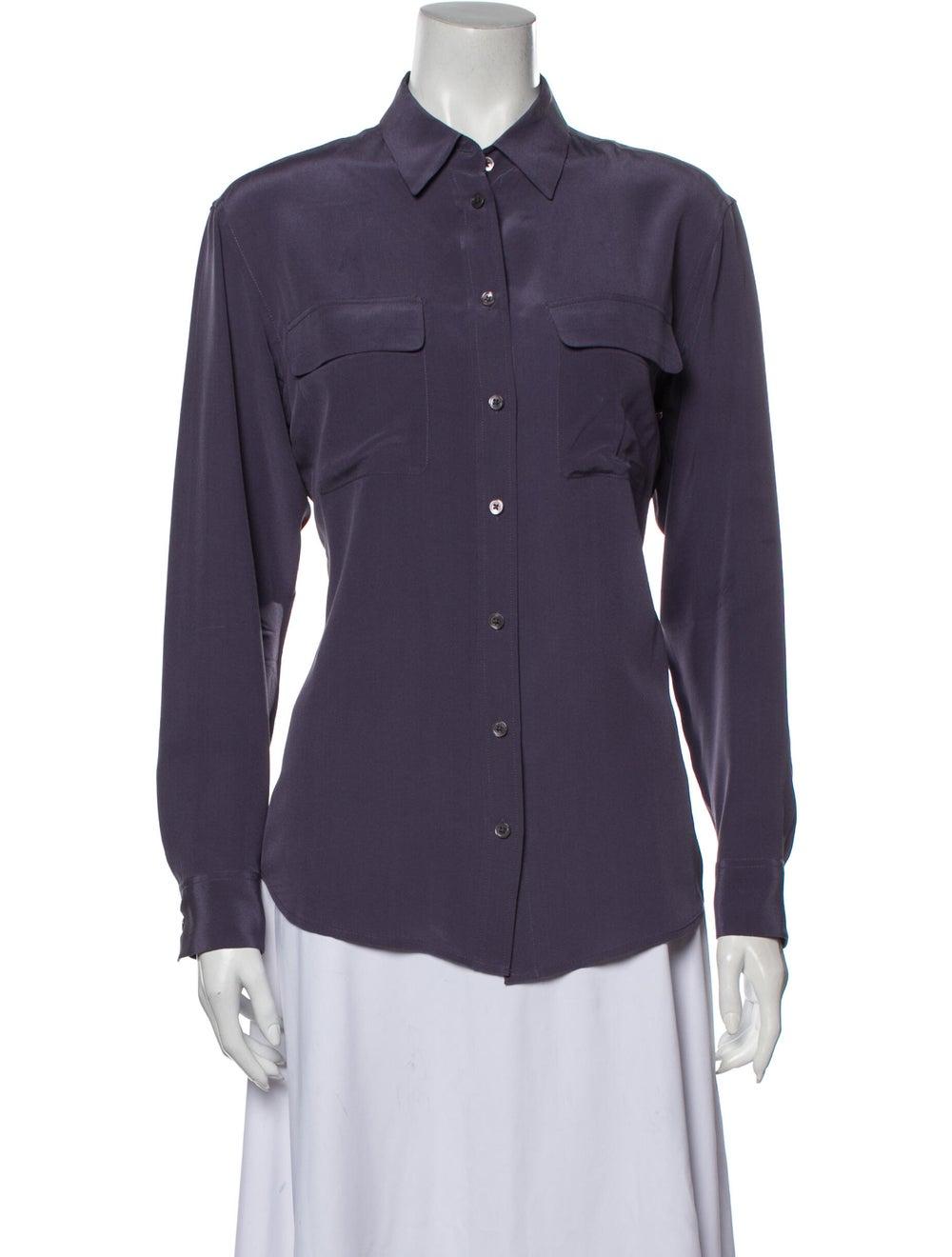 Equipment Silk Long Sleeve Button-Up Top Purple - image 1