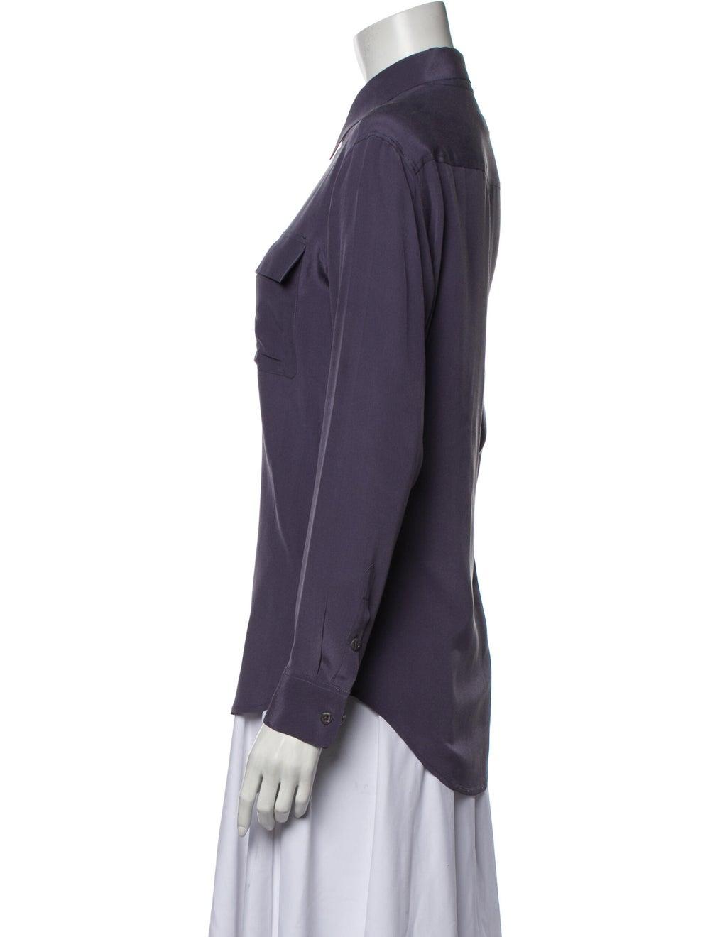 Equipment Silk Long Sleeve Button-Up Top Purple - image 2