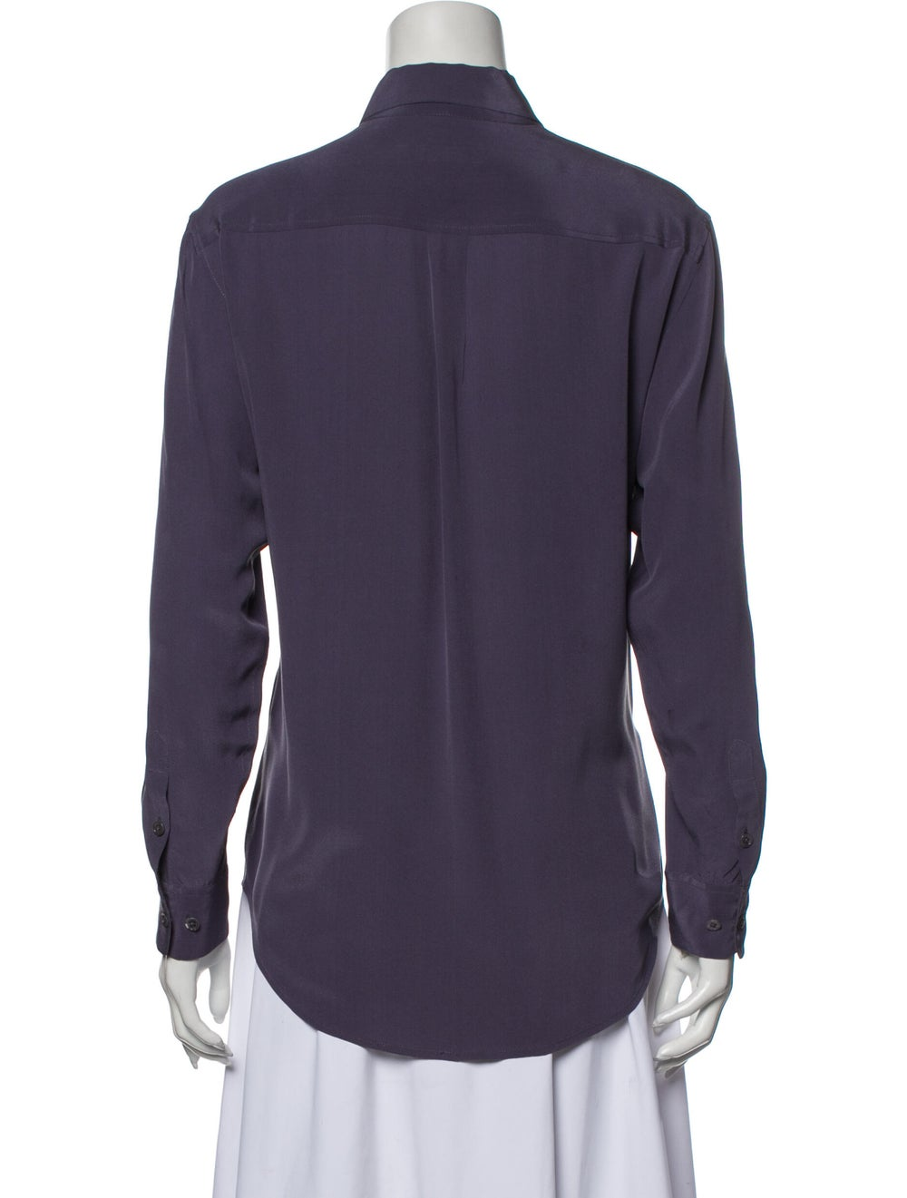 Equipment Silk Long Sleeve Button-Up Top Purple - image 3