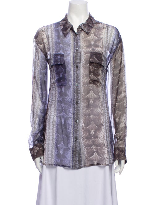 Equipment Silk Animal Print Button-Up Top Purple
