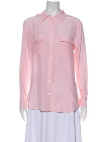 Equipment Silk Printed Button-Up Top