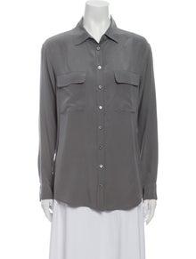 Equipment Silk Long Sleeve Button-Up Top