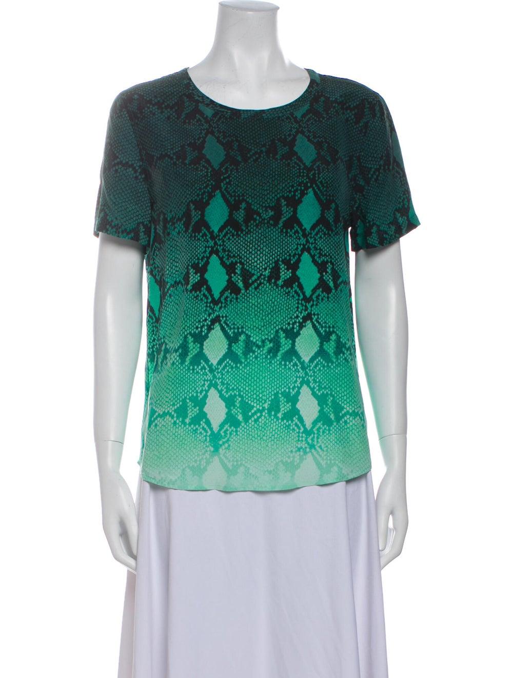 Equipment Silk Animal Print T-Shirt Green - image 1