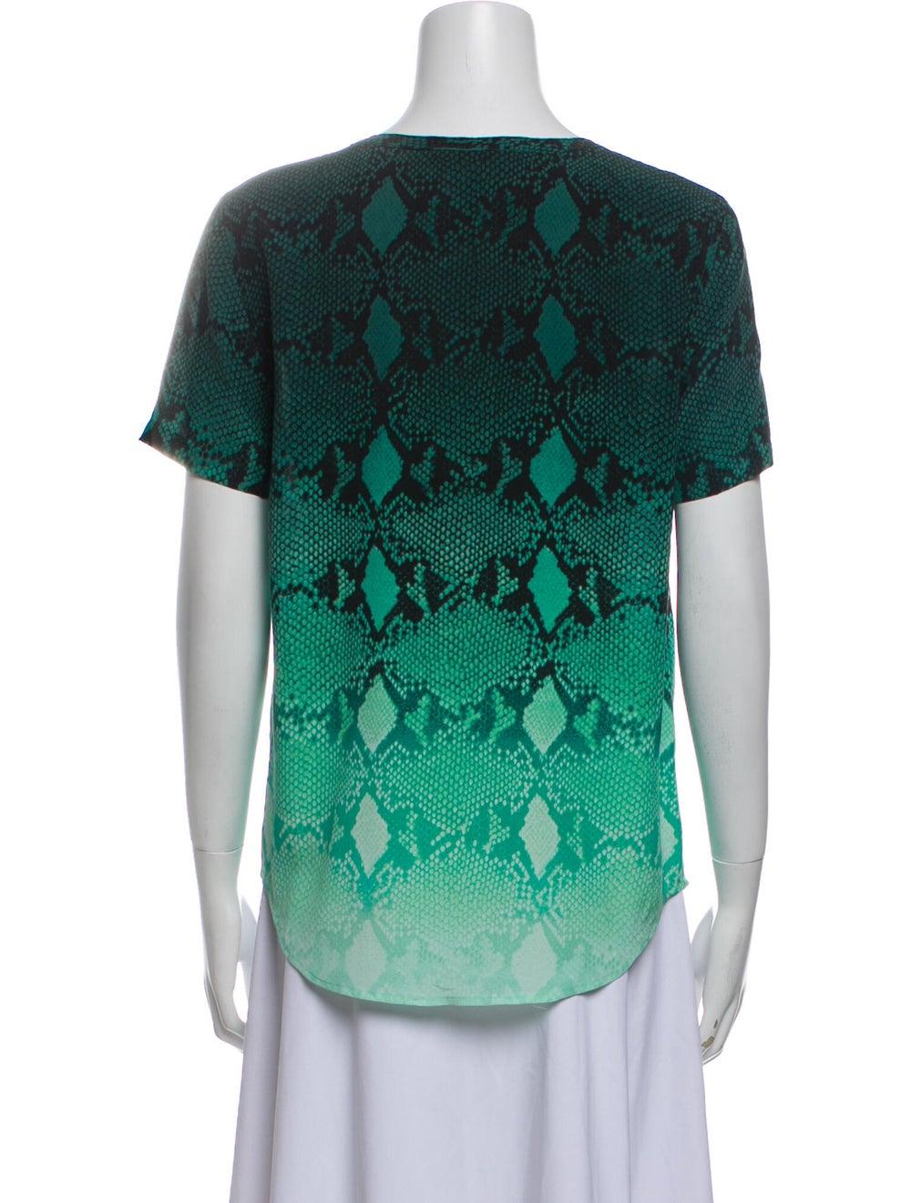 Equipment Silk Animal Print T-Shirt Green - image 3