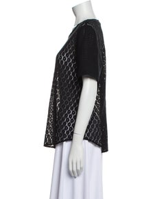 Equipment Lace Pattern Scoop Neck Top
