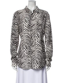 Equipment Printed Long Sleeve Button-Up Top