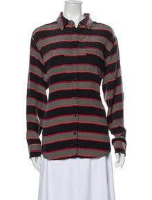 Equipment Silk Striped Button-Up Top