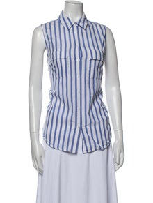 Equipment Striped Sleeveless Button-Up Top