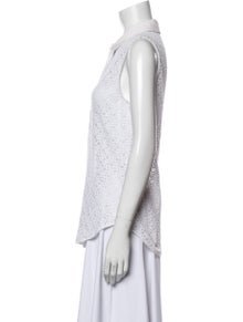 Equipment Lace Pattern Sleeveless Button-Up Top