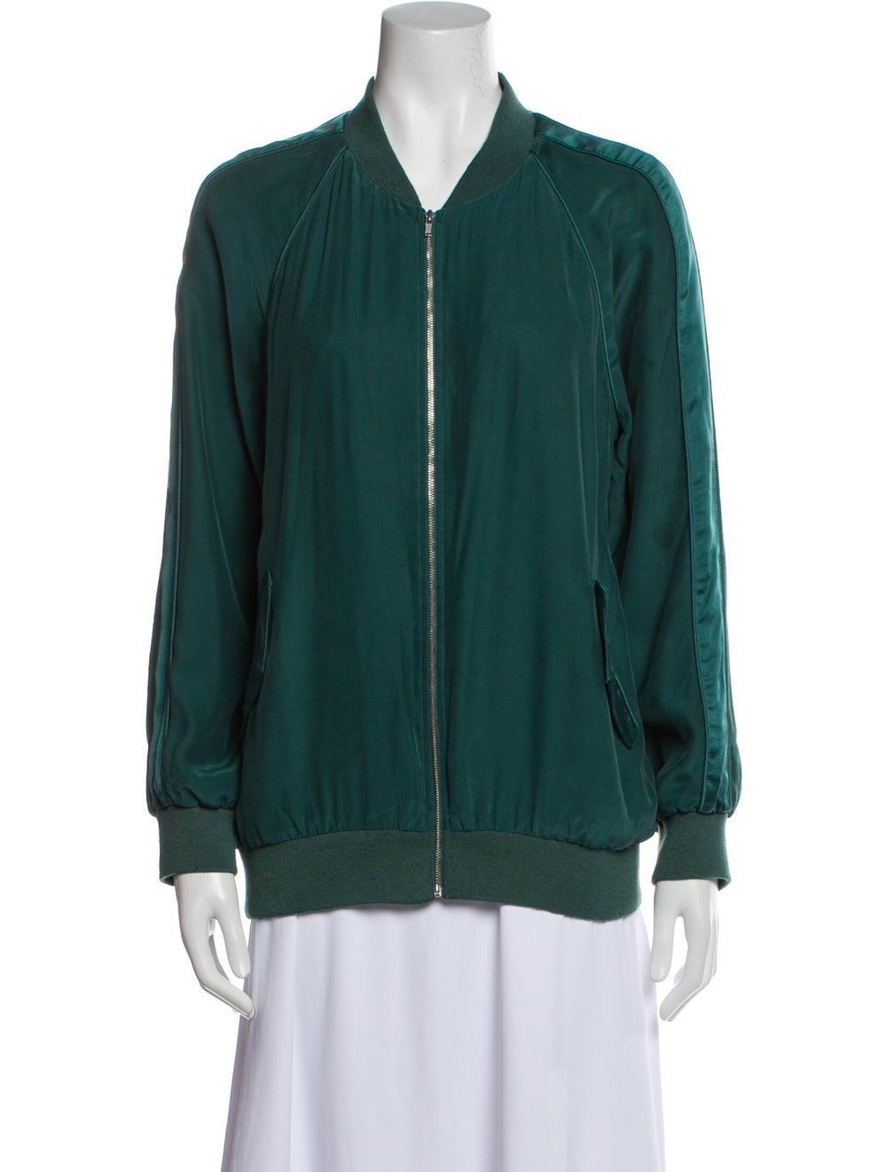 Equipment Silk Bomber Jacket Green - image 1