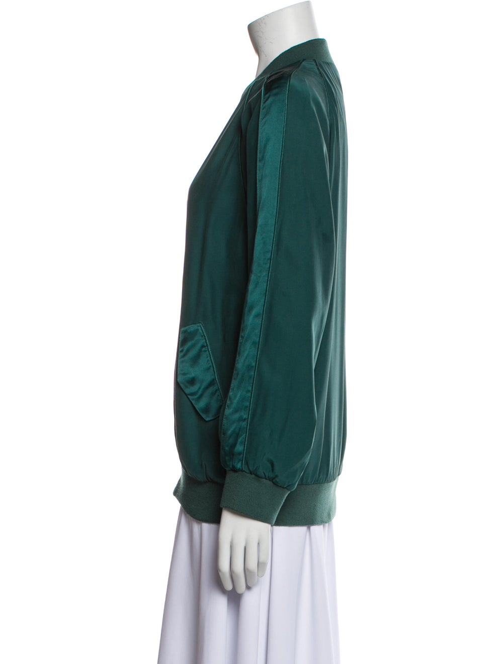 Equipment Silk Bomber Jacket Green - image 2