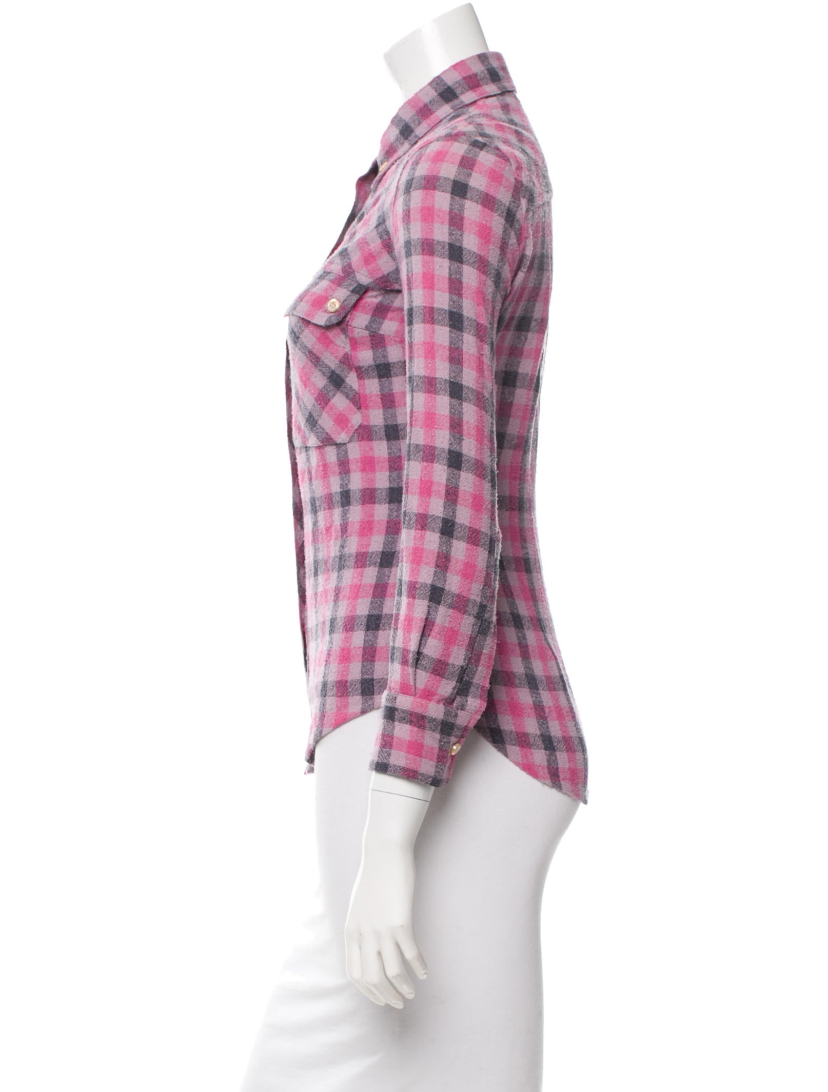 toile isabel marant silk plaid button up top clothing. Black Bedroom Furniture Sets. Home Design Ideas