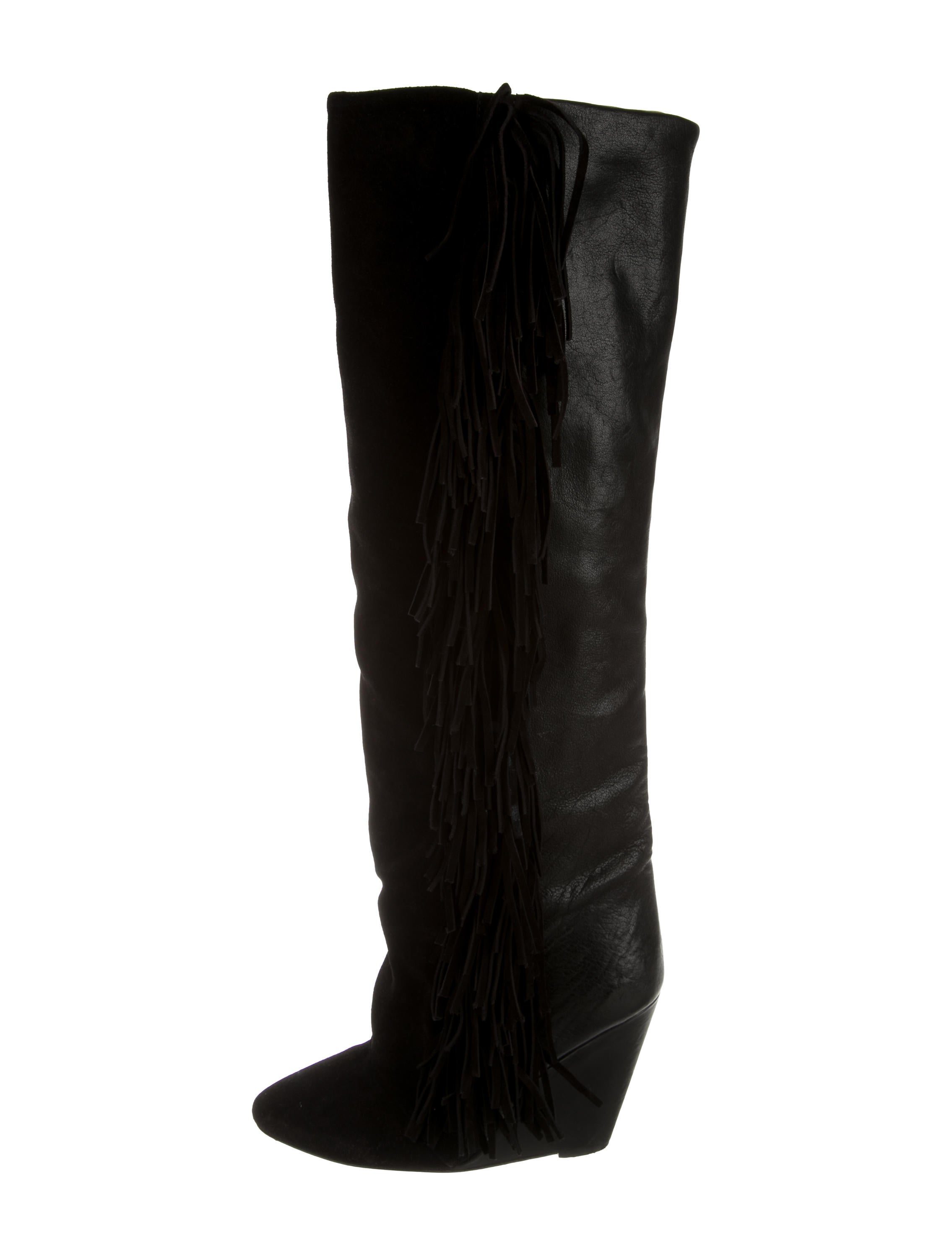 201 toile marant fringe embellished wedge boots
