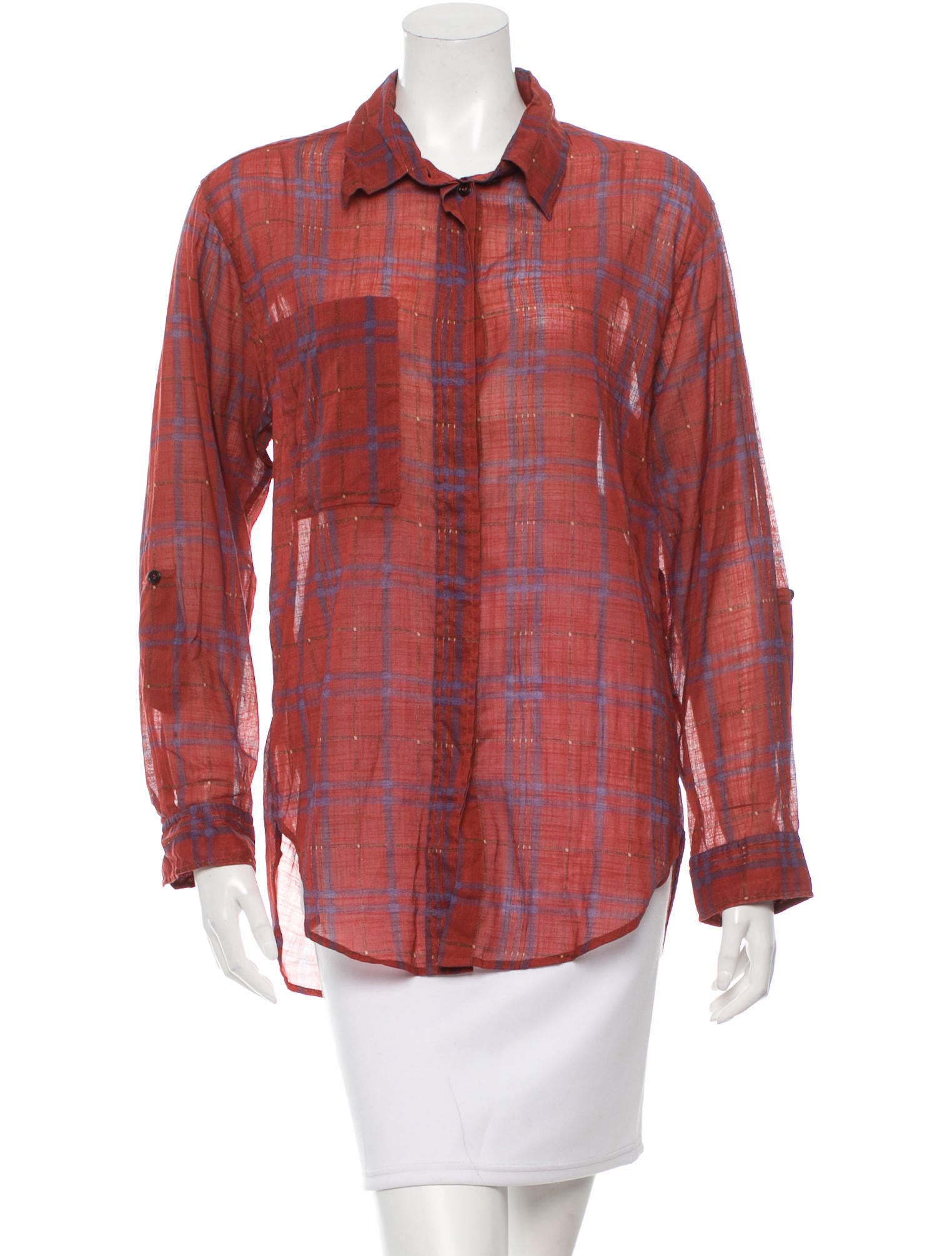 toile isabel marant plaid button up top w tags. Black Bedroom Furniture Sets. Home Design Ideas
