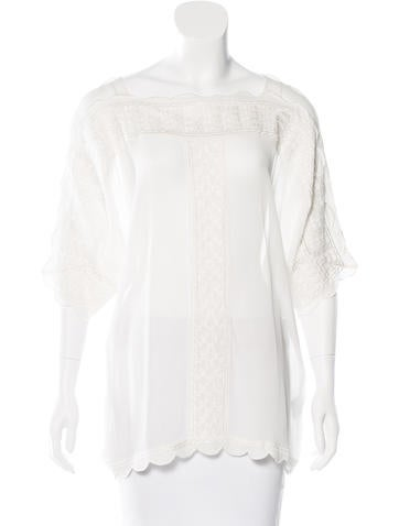 Étoile Isabel Marant Embroidered Short Sleeve Blouse