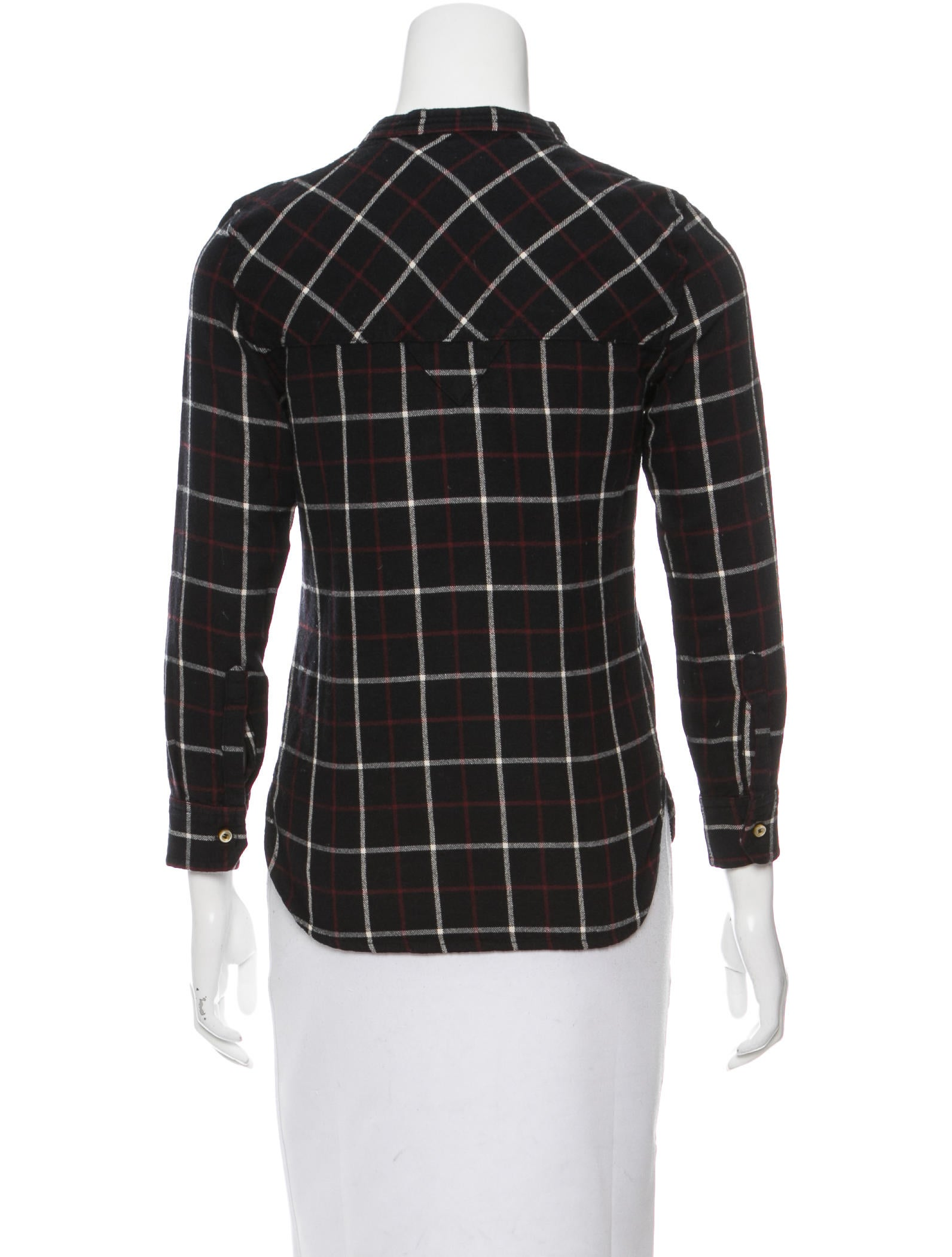 toile isabel marant plaid crew neck top clothing. Black Bedroom Furniture Sets. Home Design Ideas