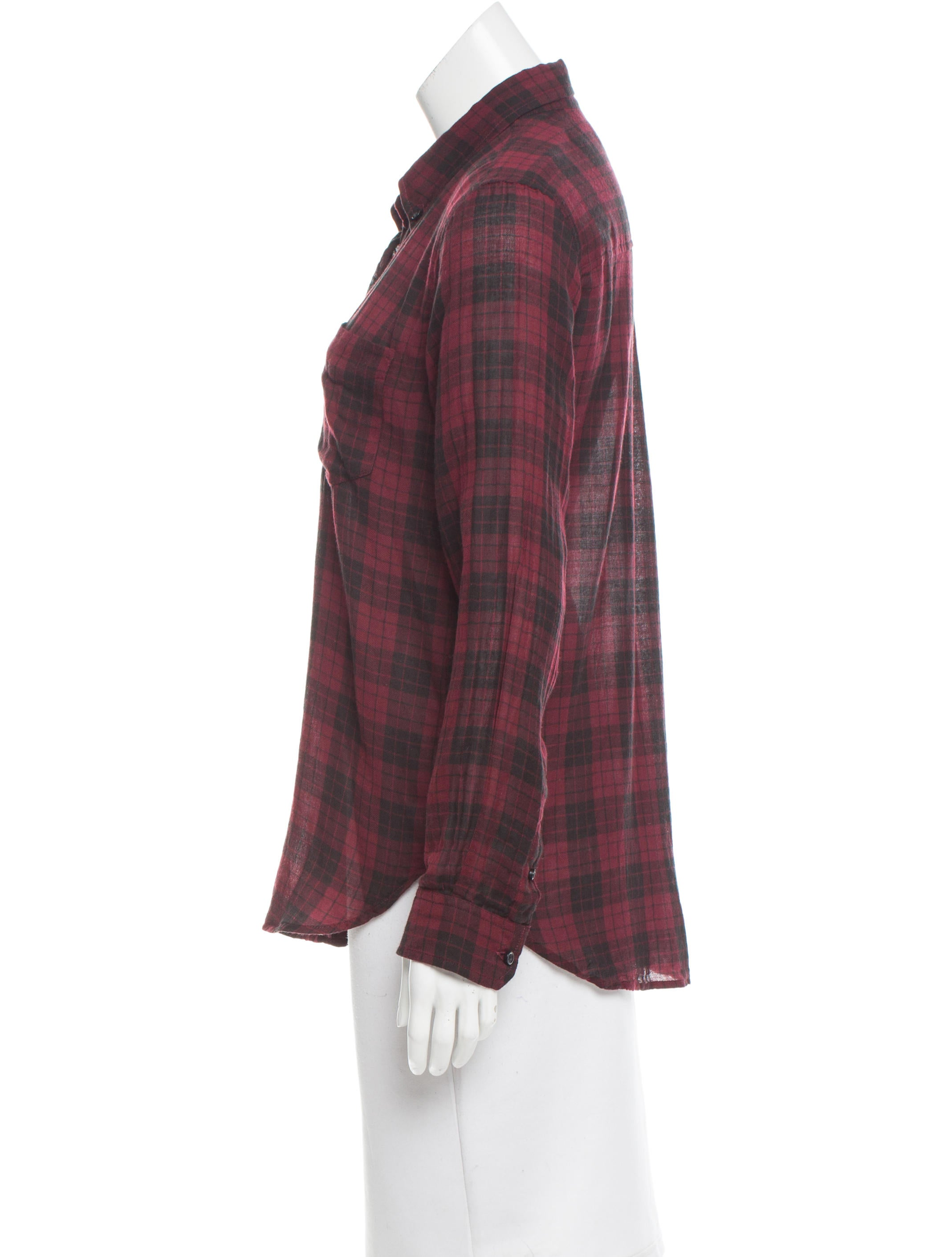 toile isabel marant plaid button up top clothing. Black Bedroom Furniture Sets. Home Design Ideas