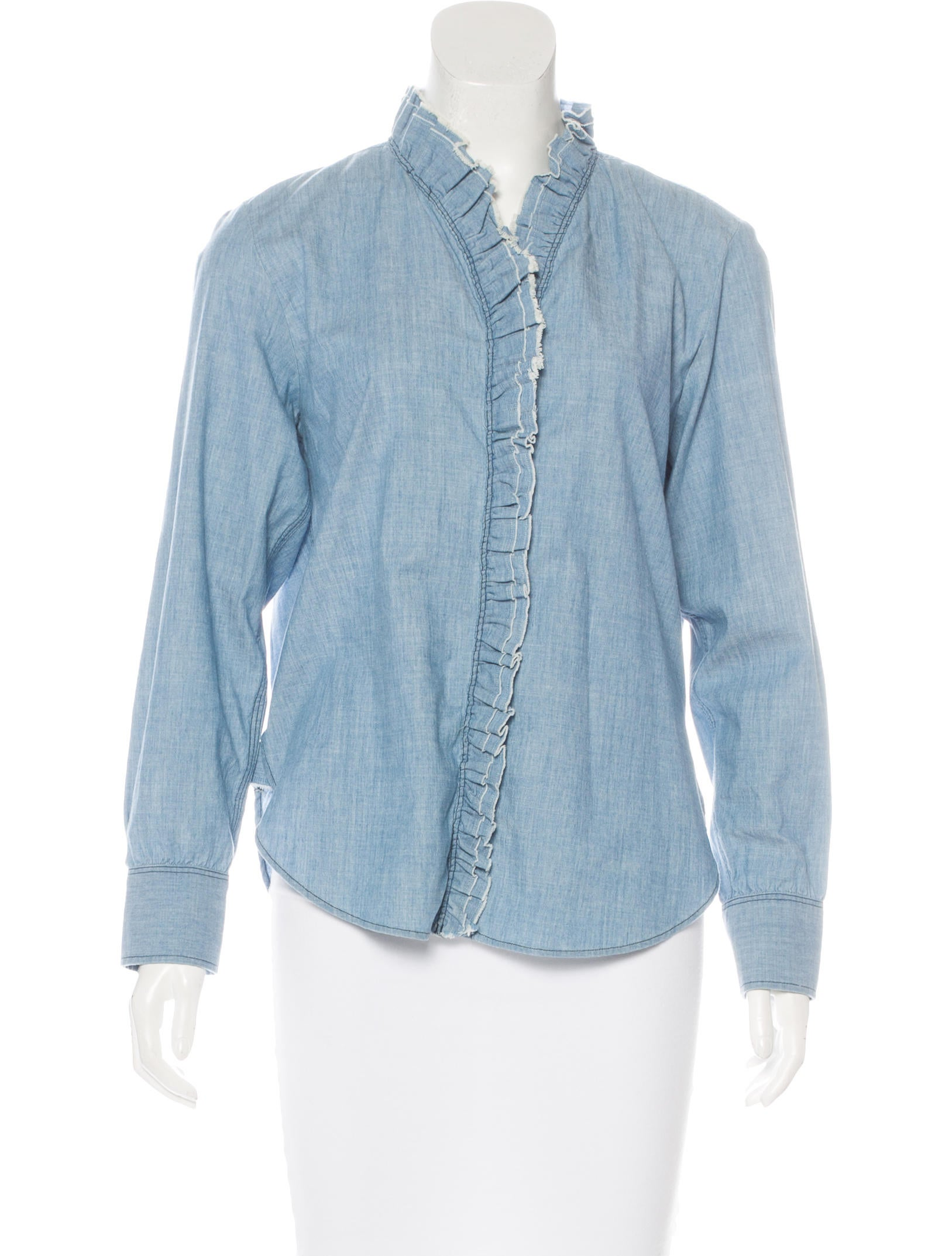 Toile isabel marant chambray ruffle trimmed top tops for Chambray top