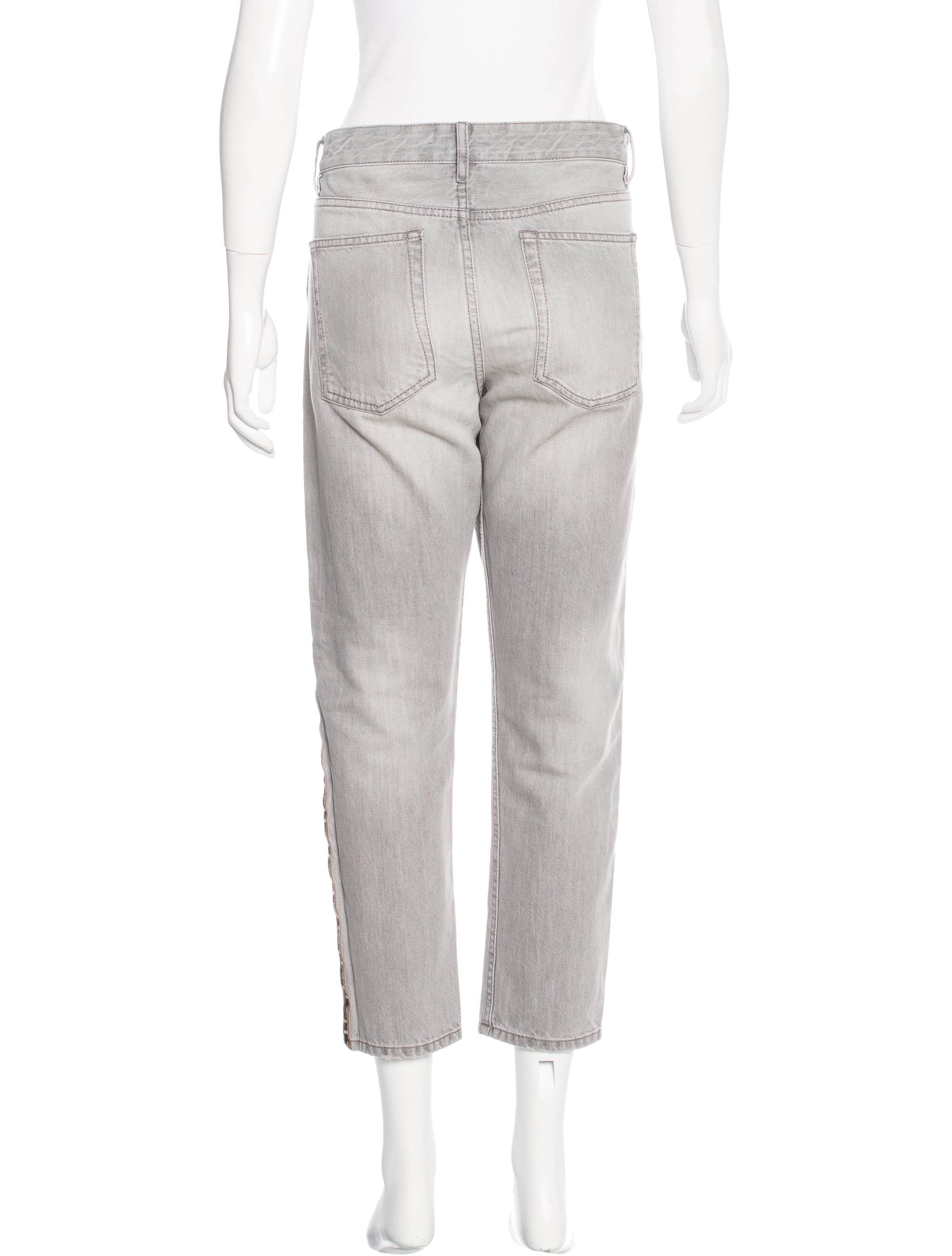 Étoile isabel marant embroidered cropped jeans pants