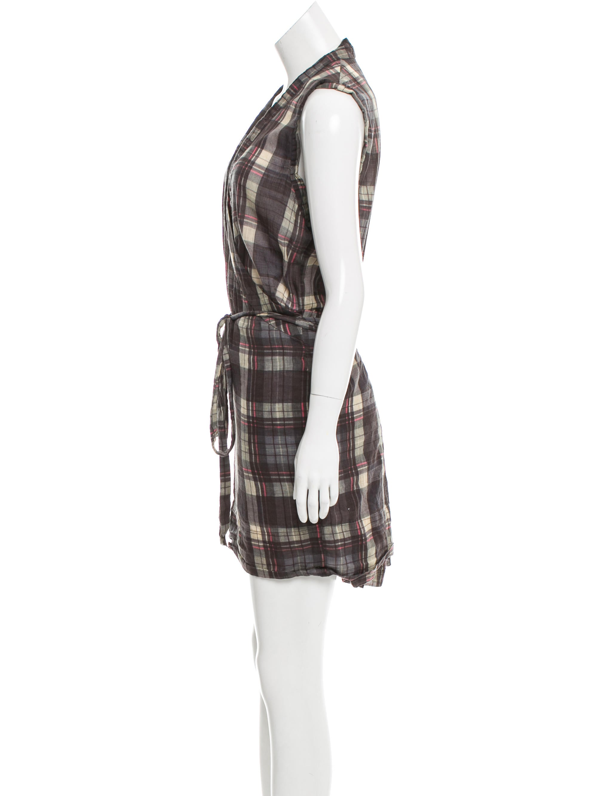 toile isabel marant plaid sleeveless dress clothing. Black Bedroom Furniture Sets. Home Design Ideas