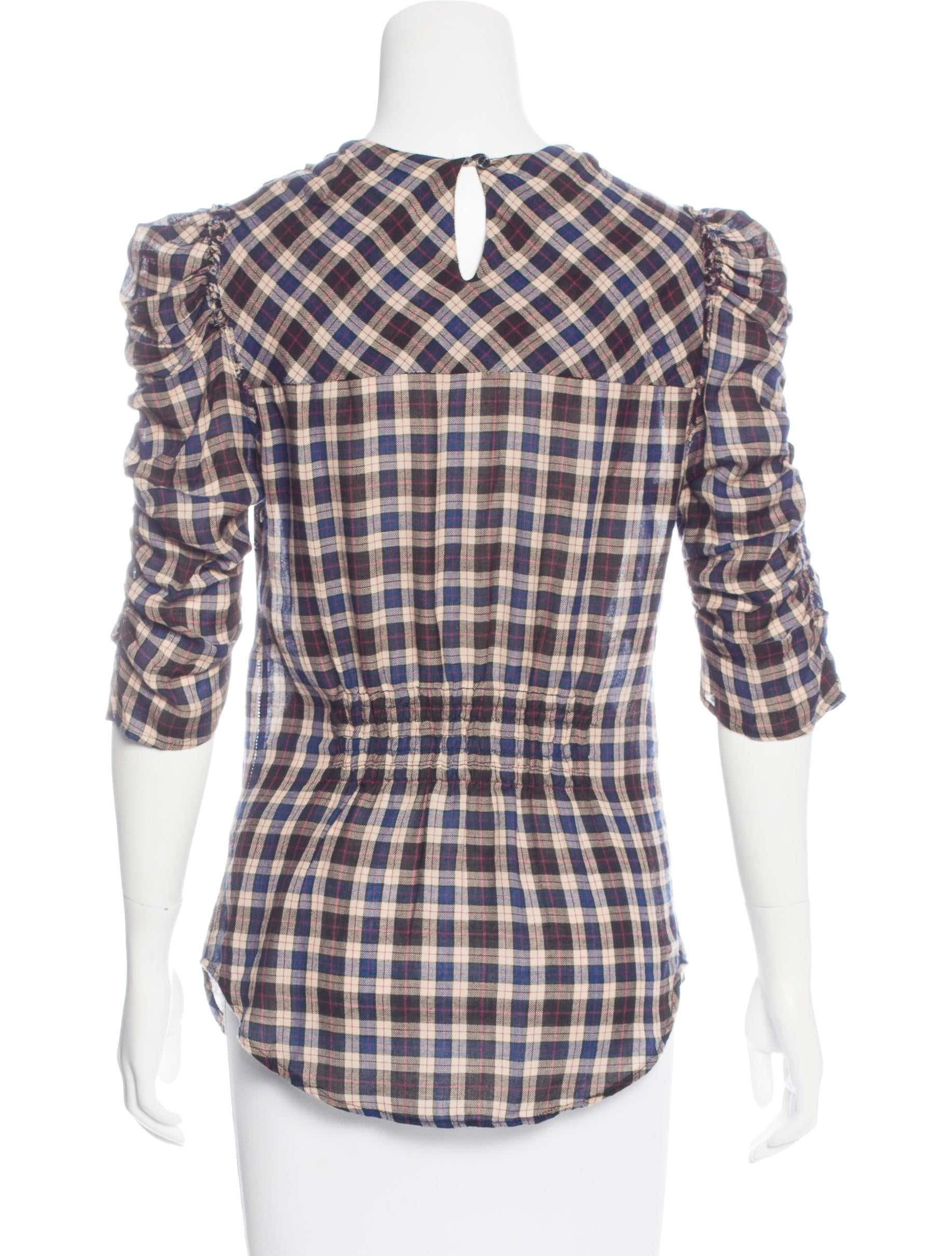 toile isabel marant plaid ruched top clothing. Black Bedroom Furniture Sets. Home Design Ideas