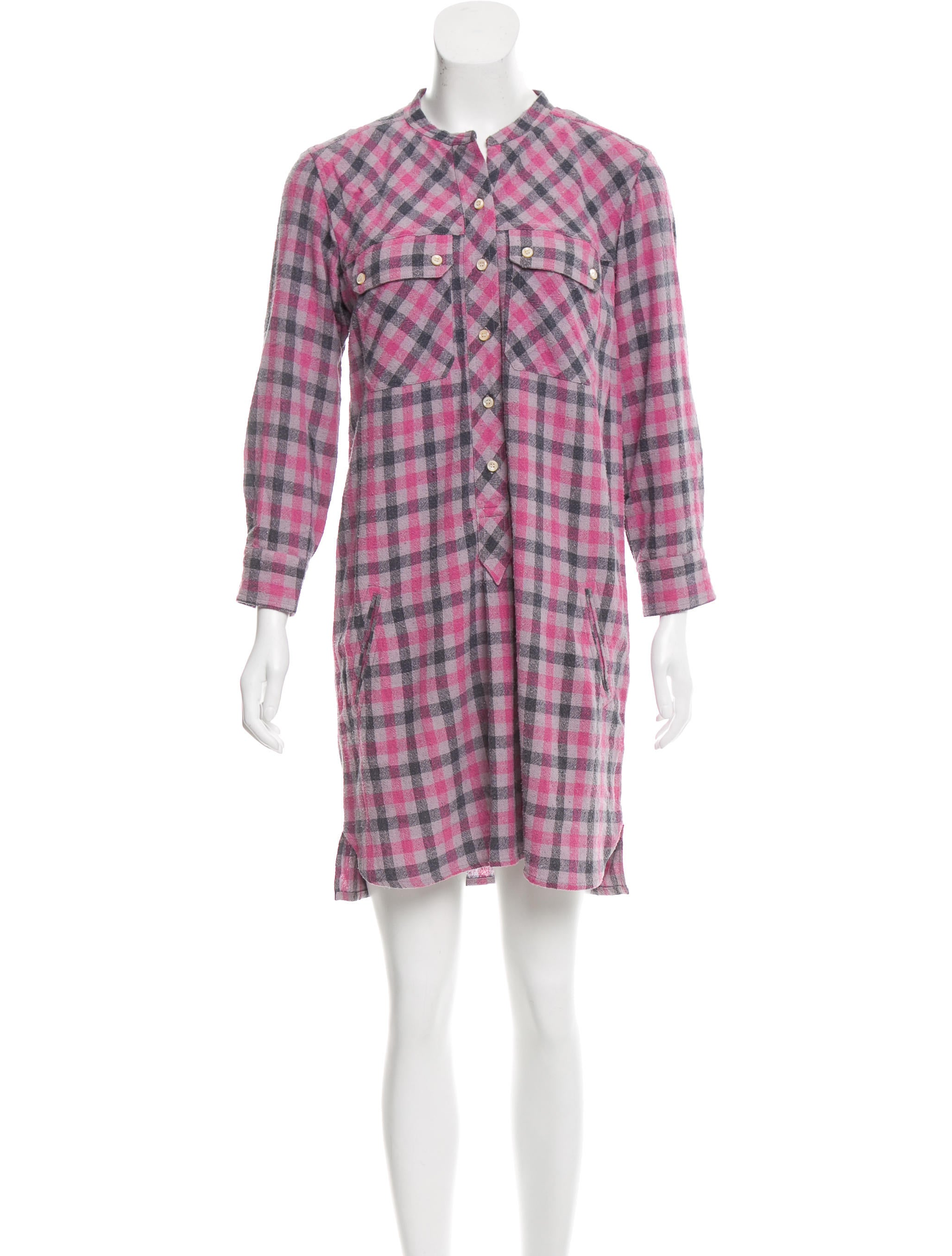toile isabel marant silk plaid printed dress w tags. Black Bedroom Furniture Sets. Home Design Ideas