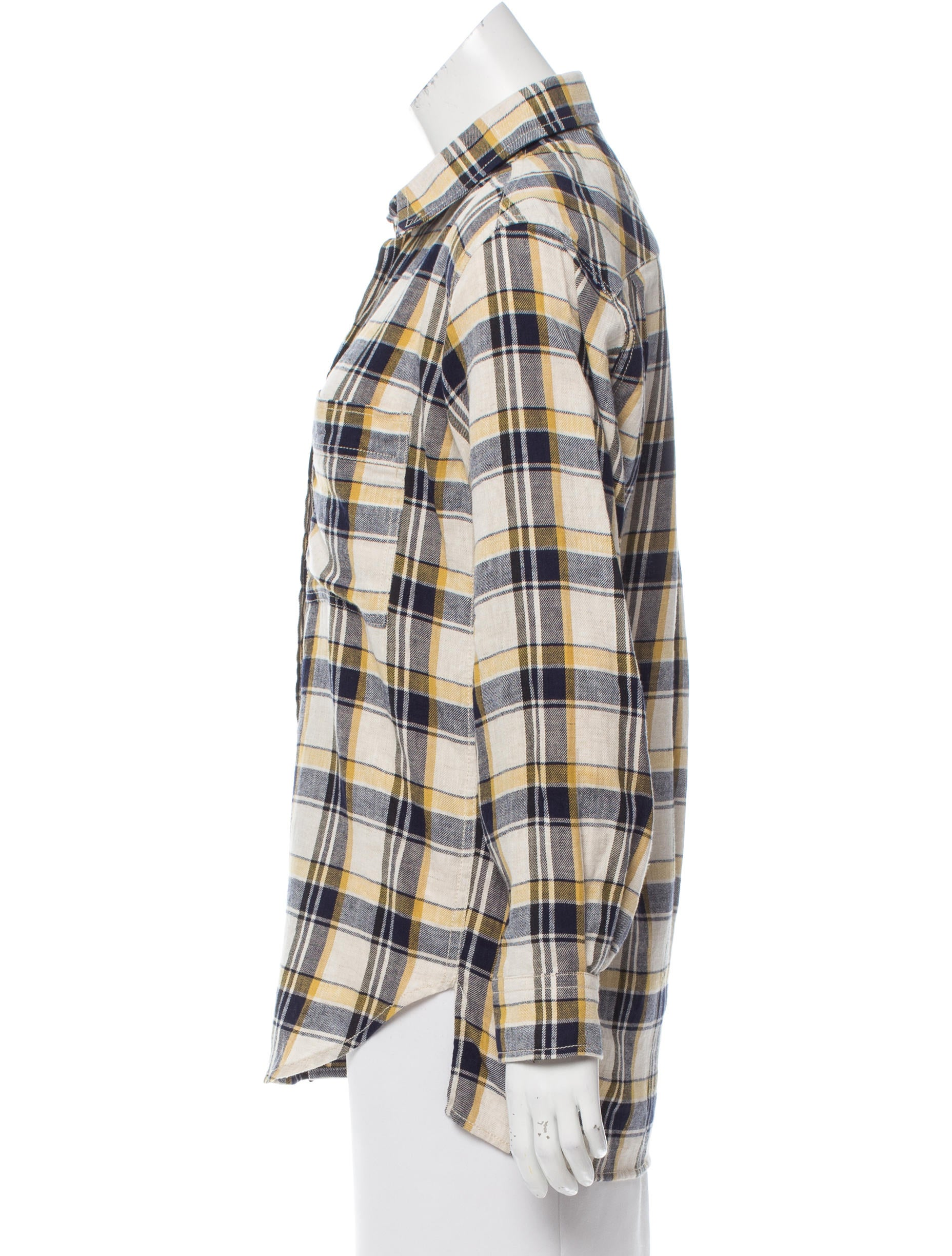 toile isabel marant plaid linen button up top clothing. Black Bedroom Furniture Sets. Home Design Ideas