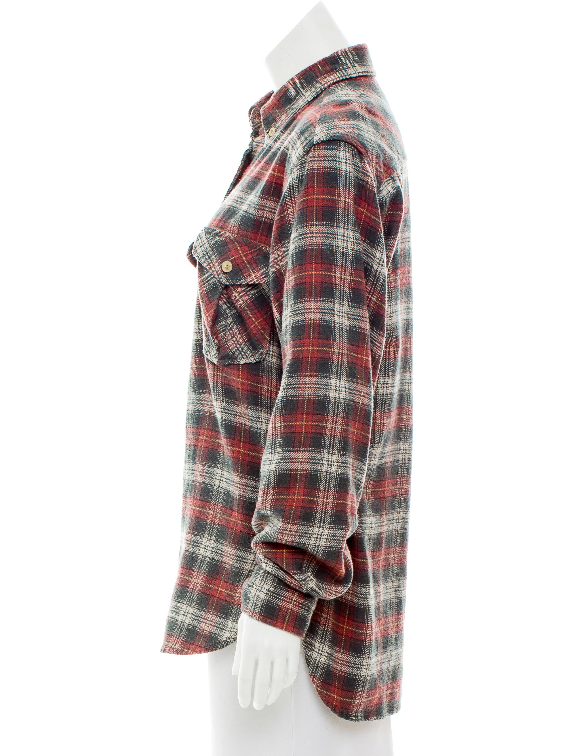 toile isabel marant plaid button up top tops wet43462. Black Bedroom Furniture Sets. Home Design Ideas