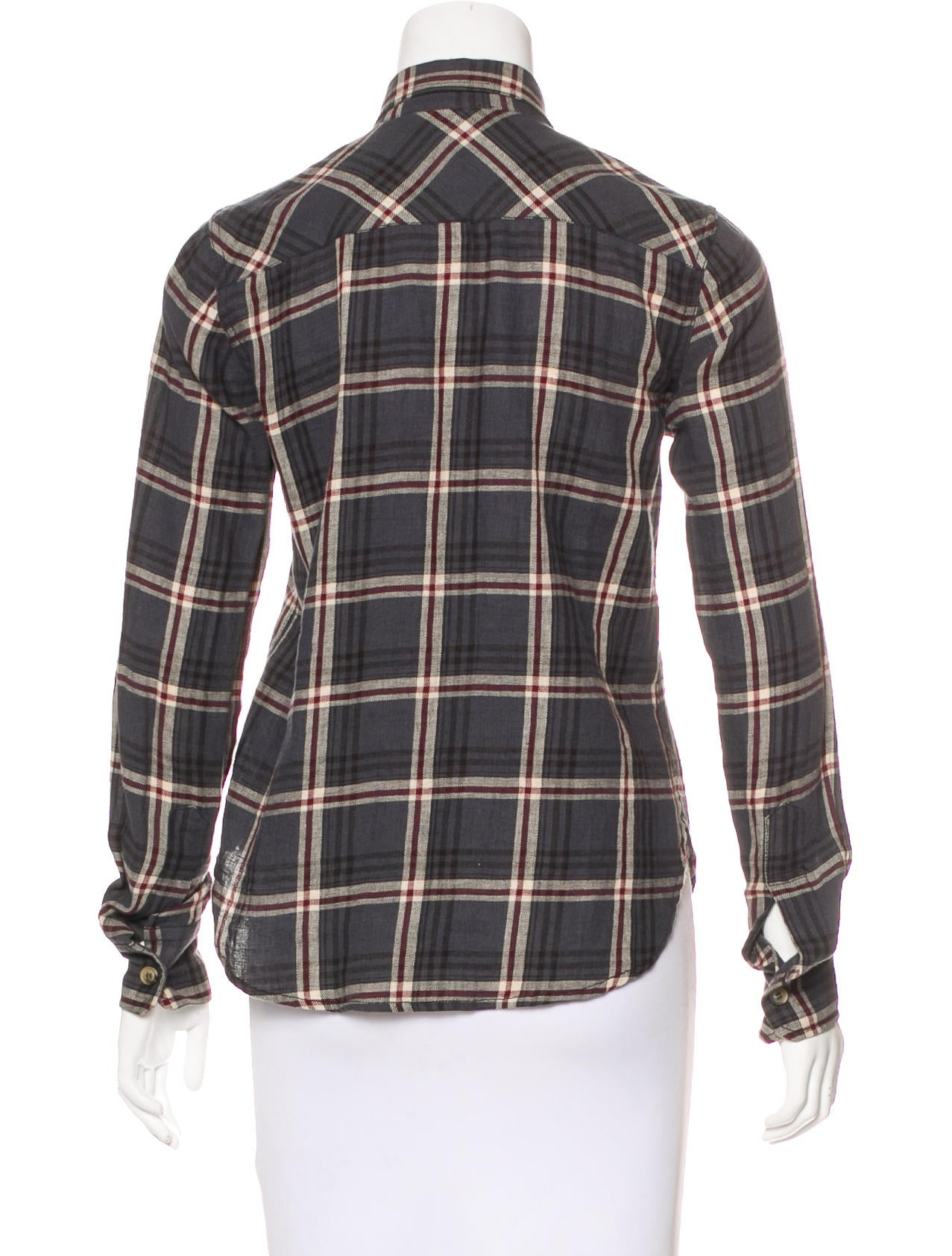 toile isabel marant long sleeve plaid top clothing. Black Bedroom Furniture Sets. Home Design Ideas