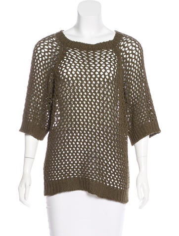 Étoile Isabel Marant Open-Knit Short Sleeve Top None
