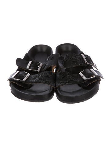 Leather Slide Sandals